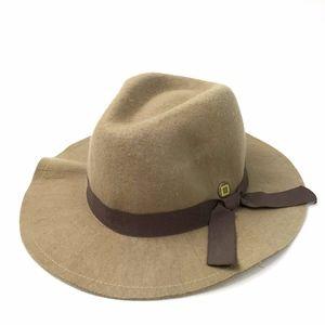 Yellow 108 Beige Felt Floppy Boho Hat